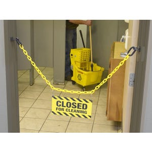Yellow Chain Barrier Closed for Cleaning Sign With Wall Loop Ends