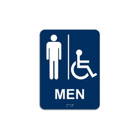 California Title 24 Compliant Rectangle Room I.D. Signs - Handicap Men CA12B
