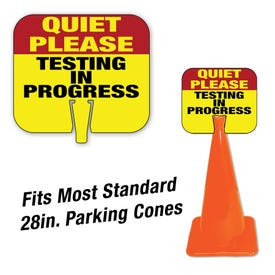 High Visibility Plastic Traffic Cone Signs Quiet Please Testing in Progress CS16