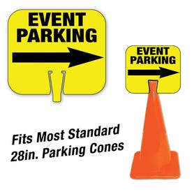 High Visibility Plastic Traffic Cone Signs Event Parking Pre-Printed Message CS22