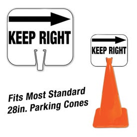 High Visibility Plastic Traffic Cone Signs Keep Right with Arrow Message CS54