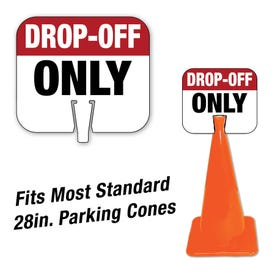 High Visibility Plastic Traffic Cone Signs Drop Off Only Pre-Printed Message CS60