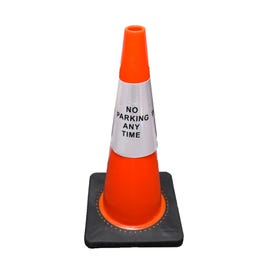 Part No. CS906 Reflective Traffic Cone Sleeve Sign - No Parking Any Time