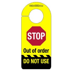 High Visibility Door Hanger Signs Stop Out Of Order Do Not Use Yellow Black DS18