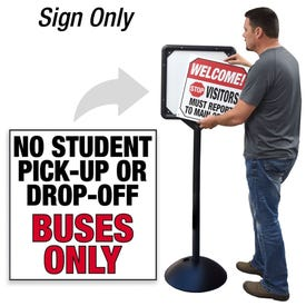 No Pick Up Drop Off Buses Only Interchangeable Directional Sign for DS7 Stanchion DS720