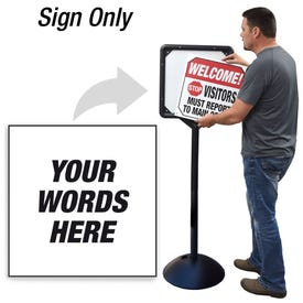Custom Message Interchangeable Directional Sign for DS7 Stanchion DS759