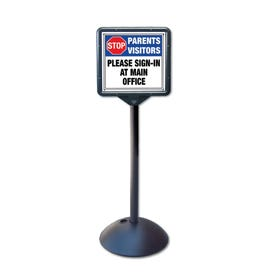 57in High Entrance Stanchion with Visitors Please Sign In Directional Sign DS7H