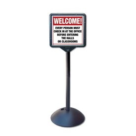 57in High Entrance Stanchion with Quiet Please Class in Session Directional Sign DS7I