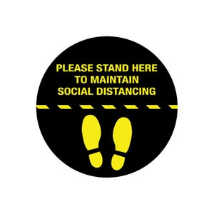 Social Distancing Round Vinyl Floor Decal Design 2 – All Surfaces
