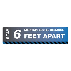 Maintain Social Distance Vinyl Floor Decal Design, 12in. x 48in. – All Surfaces