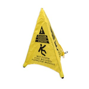 Part No. FS14 Pop Up Cone Sign With Case - Caution Wet Floor Bilingual
