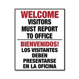 Sign Only 22in x 28in Interchangeable Traffic Sign Welcome Report Office Bilingual FS218