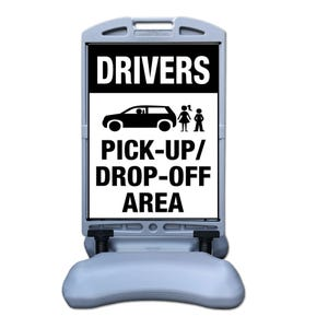 Drivers Pickup/Dropoff Area Sign w/ Tip and Roll Base Part No. FS300BB