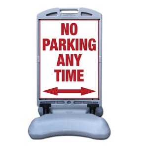 No Parking Any Time Sign w/ Tip and Roll Base Part No. FS300CC