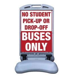 57in Tip and Roll Stanchion Buses Only No Drop Off Parking Lot Traffic Sign FS300F