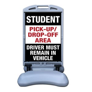 Student Pick-up/Drop-off Area Sign w/ Tip and Roll Base Part No. FS300FF