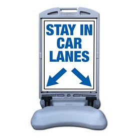 Stay In Car Lanes w/ Arrows Sign w/ Tip and Roll Base