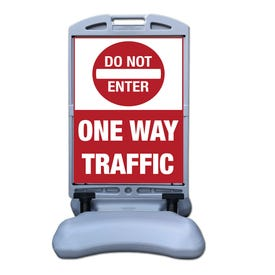 57in Tip and Roll Stanchion Do Not Enter One Way Parking Lot Traffic Sign FS300N
