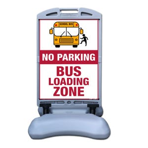 No Parking Bus Loading Zone Sign w/ Tip and Roll Base Part No. FS300Q