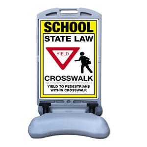 School State Law Yield Crosswalk Sign W/ Tip n Roll Base