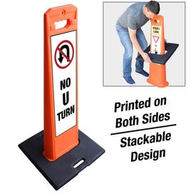 Safety Orange Weighted Message Sign No U Turn FS431