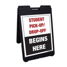 Interchangeable Black A-Frame Traffic Sign Student Drop Off Begins Here FS500C