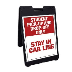 Interchangeable Black A-Frame Traffic Sign Stay In Car Line Drop Off Only FS500E