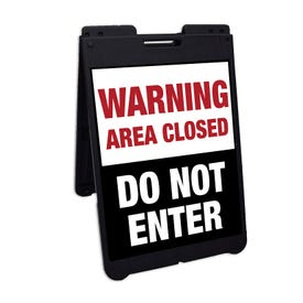 Interchangeable Black A-Frame Traffic Sign Warning Area Closed Do Not Enter FS500X