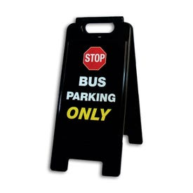 26in High Black A-Frame Traffic Sign Stop Bus Parking Only FS62