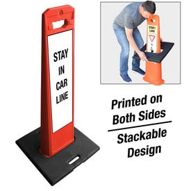 Red Frame Weighted Message Sign Stay In Car Line FS633