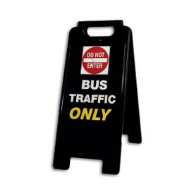 26in High Black A-Frame Traffic Sign Do Not Enter Bus Traffic Only FS65