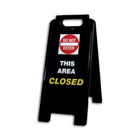 26in High Black A-Frame Traffic Sign Do Not Enter This Area Closed FS66
