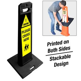Black Frame Weighted Message Sign Please Cross Here FS736