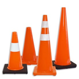 Heavy Duty Parking Cones or Traffic Cones Made of Orange PVC Plastic