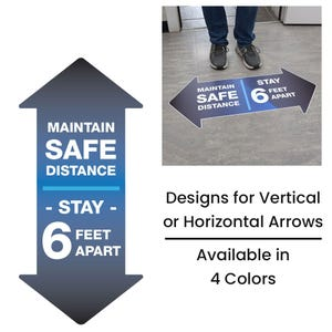 Maintain Safe Distance Arrows Floor Decal FD22 FD23 FD24 FD26 FD27 FD28 FD29 FD32