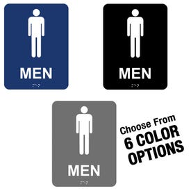 6in x 8in ADA Compliant Braille Bathroom Signs Men MP1