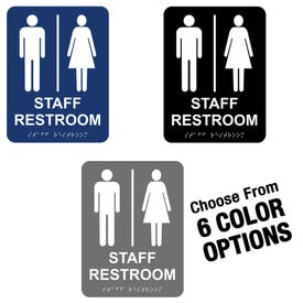6in x 8in ADA Compliant Braille Bathroom Signs Staff Restroom MP21