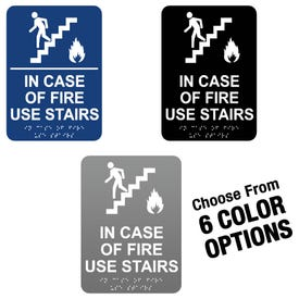 6in x 8in ADA Compliant Braille Signs In Case of Fire Use Stairs MP24