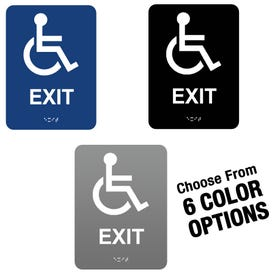 6in x 8in ADA Compliant Braille Signs Handicap Exit Sign MP26