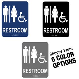 6in x 8in ADA Compliant Braille Bathroom Signs Men Women Handicap MP7