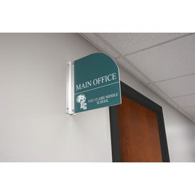 9.5in. x 10in. Double Sided Custom Laser Engraved Plastic Sign Curved Top Room ID MPC94