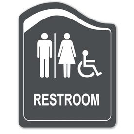 8in. X 10in. Designer Handicap Restroom Laser Engraved Sign
