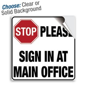 8in Window and Door Vinyl Decal Stop Please Sign In At Main Office MPST1