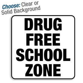 8in Window and Door Vinyl Decal Drug Free School Zone MPST166