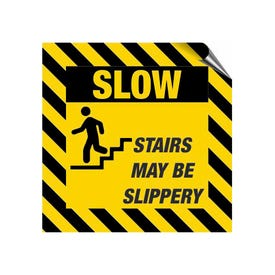 8in. High Intensity Caution Decals - Slow Stairs May Be Slippery (3 Pack)