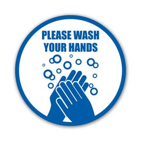 Vinyl Decal for Bathroom Mirror Please Wash Your Hands 5 in Diameter R54