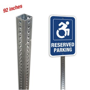 92in. Square Galvanized Steel Sign Post Kit with Mounting Hardware SH30