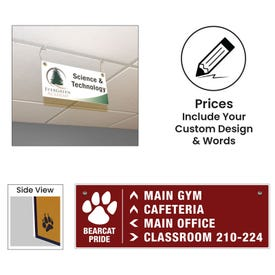 Solid Plastic Rectangle Style Ceiling Hung Signs
