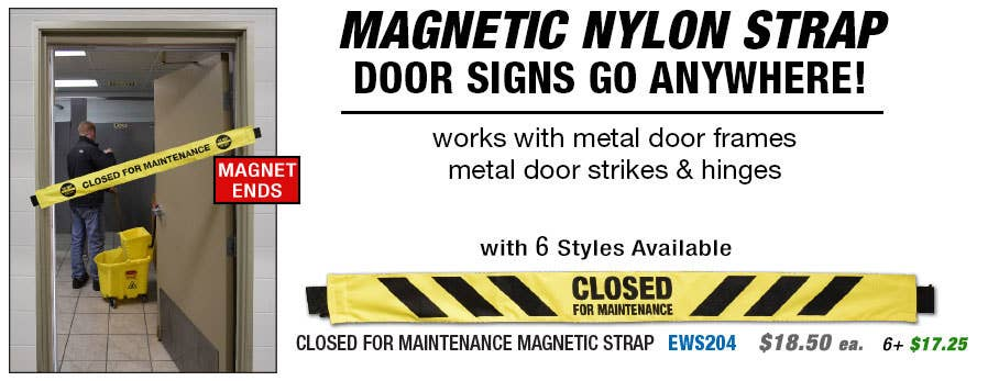 Magnetic Nylon Barrier Strap Maintenance Signs